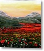 River Of Poppies Metal Print