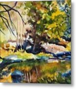 River Reflections In Yosemite Autumn Metal Print