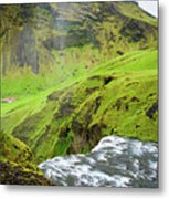River Skoga And Green Nature In Iceland Metal Print