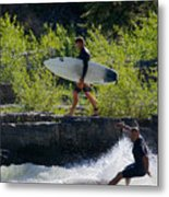 River Surfers Snake River Metal Print