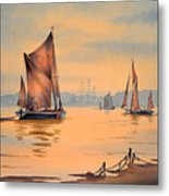 River Thames At Greenwich London Metal Print