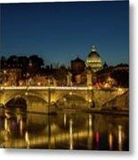 River Tiber And Vatican At Night Metal Print