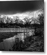 River With Dark Cloud In Black And White Metal Print
