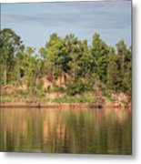 Riverbank Along The Red Metal Print