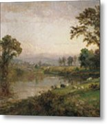 Riverscape In Early Autumn Metal Print by Jasper Francis Cropsey