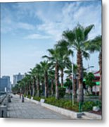 Riverside Promenade Park And Skyscrapers In Downtown Xiamen City Metal Print
