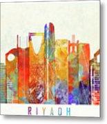 Riyadh Landmarks Watercolor Poster Metal Print