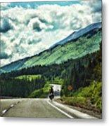 Road Alaska Bicycle  Metal Print