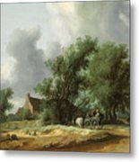 Road In The Dunes With A Passenger Coach After The Rain1631 Metal Print