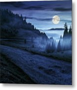 Road Near Foggy Forest In Mountains At Night Metal Print