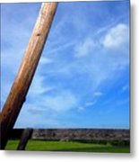 Road Side View Of Countryside Metal Print