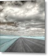 Road Sky Infrared Clouds Landscape Open Road Travel Path Road Trip Metal Print