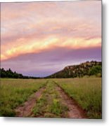 Road Through New Mexico Landscape At Sunrise Metal Print