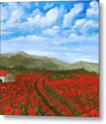 Road Through The Poppy Field Metal Print