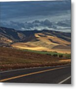 Road To The Blue's Metal Print