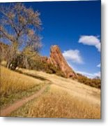 Road To The Rocky Blue Metal Print