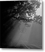 Road With Early Morning Fog Metal Print