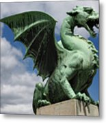 Roaring Winged Dragon Sculpture Of Green Sheet Copper Symbol Of  Metal Print