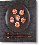 Roasted Shrimps Served On Plate Metal Print