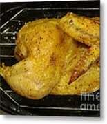 Roasting Half Chicken, 4 Of 4 Metal Print