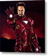 Robert Downey Jr. As Iron Man  Metal Print