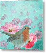 Robin In A Field Of Poppies Metal Print