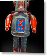 Robo Space Toys Knockout On Black Metal Print