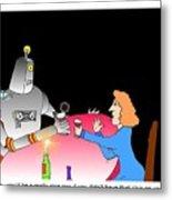 Robot Dining Cartoon Metal Print