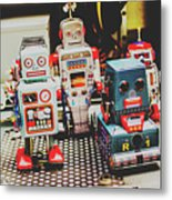 Robots Of Retro Cool Metal Print