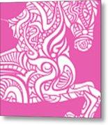 Rocinante Horse - White On Pink Metal Print