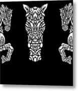 Rocinante Horses - Black And White Metal Print
