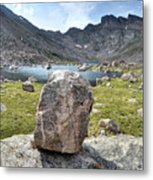 Rock At Abyss Lake Metal Print