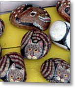 Rock Cats And Fawns Metal Print