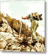 Rock Climbing Mountaineer Metal Print