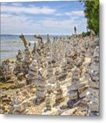 Rock Structures On Lake Michigan Metal Print