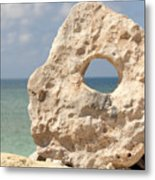 Rock With A Hole With A Tropical Ocean In The Background. Metal Print