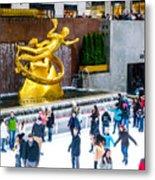 Rockefeller Center Skating Rink New York City Metal Print