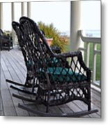 Rocking Chairs On The Porch Metal Print