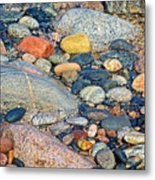 Rocks Of Many Colors On Lake Superior Shoreline In Pictured Rocks National  Metal Print