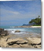 Rocks Trees And Ocean Metal Print
