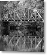Rocks Village Bridge In Black And White Metal Print