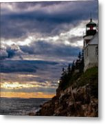 Rocky Cliffs Below Maine Lighthouse Metal Print