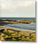 Rocky Coast Bench Metal Print