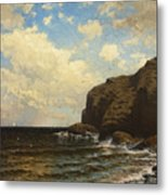 Rocky Coast With Breaking Wave Metal Print