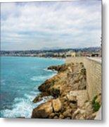 Rocky Coastline In Nice, France Metal Print