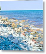 Rocky Lake Superior Shoreline Near North Country Trail In Pictured Rocks National Lakeshore-michigan Metal Print