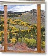 Rocky Mountain Autumn Picture Window View Metal Print