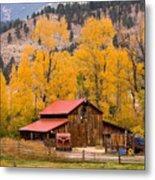 Rocky Mountain Autumn Ranch Landscape Metal Print