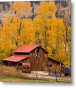 Rocky Mountain Barn Autumn View Metal Print