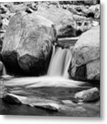 Rocky Mountain Canyon Waterfall In Black And White Metal Print